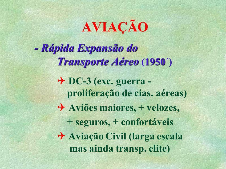 AVIAÇÃO anos 1960 - Aeronaves a Jato (anos 1960´) Maior velocidade das aeronaves Comet inglês (1952) Caravelle francês (1959) Boeing 707 americano (1960)