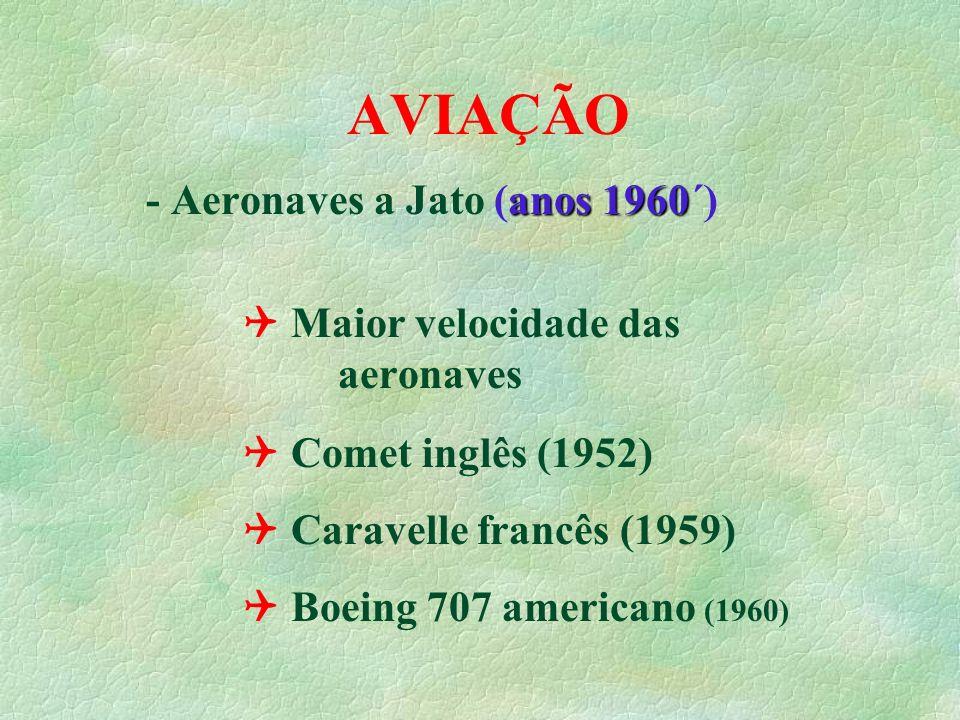AVIAÇÃO anos 1960 - Aeronaves a Jato (anos 1960´) Maior velocidade das aeronaves Comet inglês (1952) Caravelle francês (1959) Boeing 707 americano (19