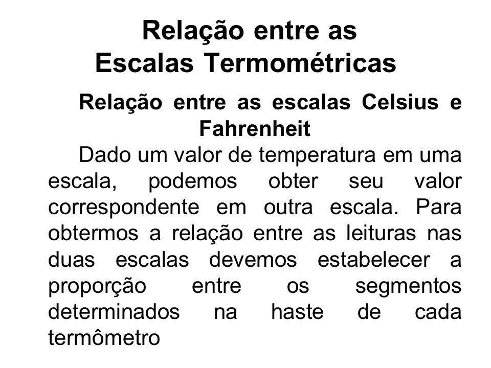Relação entre as Escalas Termométricas Relação entre as escalas Celsius e Fahrenheit Dado um valor de temperatura em uma escala, podemos obter seu val