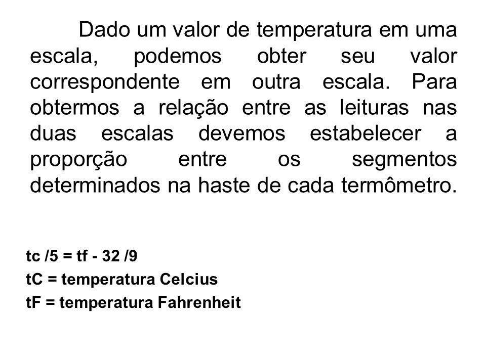 Dado um valor de temperatura em uma escala, podemos obter seu valor correspondente em outra escala. Para obtermos a relação entre as leituras nas duas