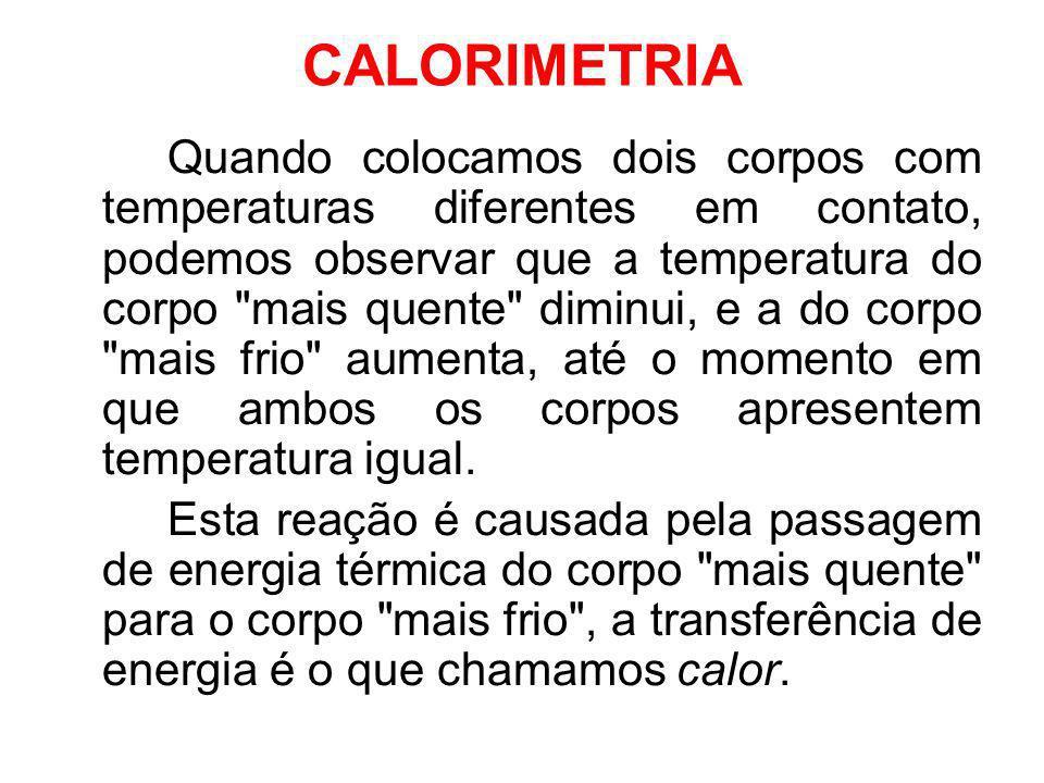 CALORIMETRIA Quando colocamos dois corpos com temperaturas diferentes em contato, podemos observar que a temperatura do corpo
