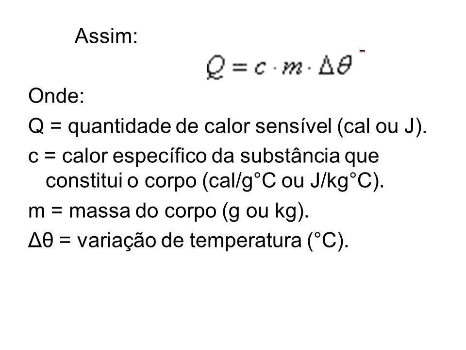 Assim: Onde: Q = quantidade de calor sensível (cal ou J). c = calor específico da substância que constitui o corpo (cal/g°C ou J/kg°C). m = massa do c