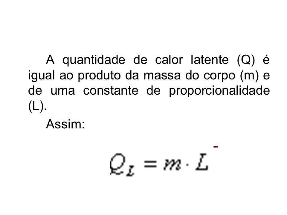 A quantidade de calor latente (Q) é igual ao produto da massa do corpo (m) e de uma constante de proporcionalidade (L). Assim: