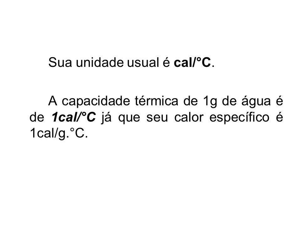 Sua unidade usual é cal/°C. A capacidade térmica de 1g de água é de 1cal/°C já que seu calor específico é 1cal/g.°C.