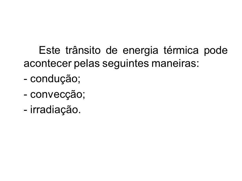 Este trânsito de energia térmica pode acontecer pelas seguintes maneiras: - condução; - convecção; - irradiação.