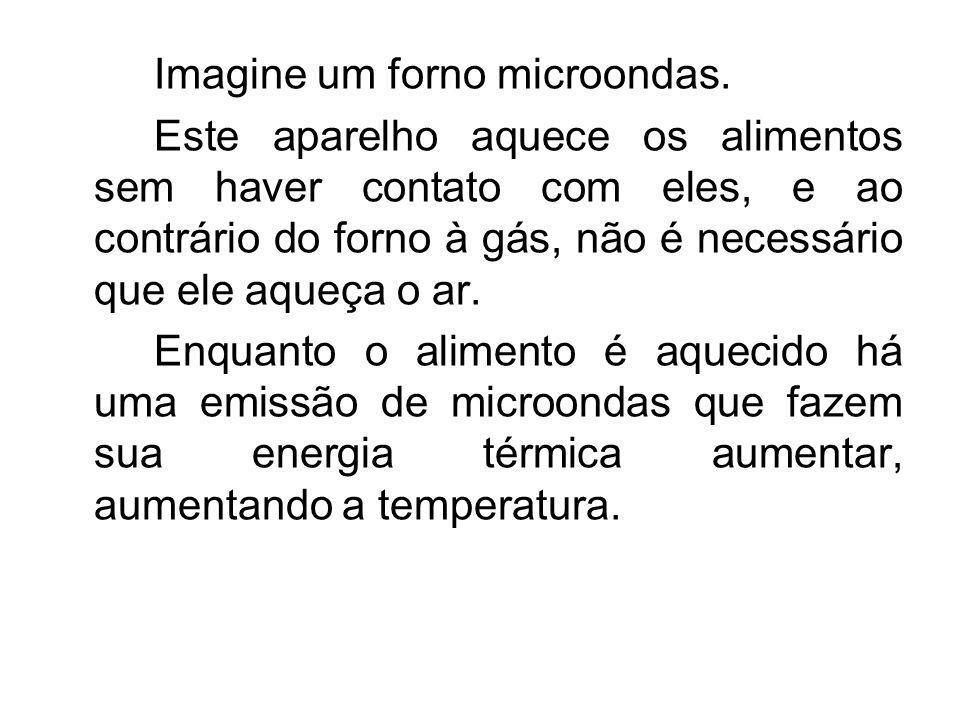 Imagine um forno microondas. Este aparelho aquece os alimentos sem haver contato com eles, e ao contrário do forno à gás, não é necessário que ele aqu