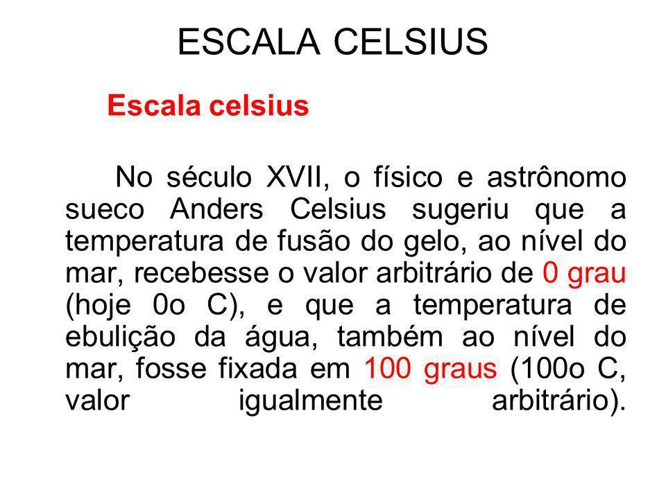 Algumas temperaturas: Algumas Temperaturas Escala Celsius (°C) Escala Fahrenheit (°F)Escala Kelvin (K) Ar liquefeito-39-38,2243 Maior Temperatura na superfície da Terra 58136331 Menor Tempertura na superfície da Terra -89-128184 Ponto de combustão da madeira 250482523 Ponto de combustão do papel 184363257 Ponto de fusão do chumbo 327620600 Ponto de fusão do ferro153527951808 Ponto do gelo032273,15 Ponto de solidificação do mercúrio -39-38,2234 Ponto do vapor100212373,15 Temperatura na chama do gás natural 6601220933 Temperatura na superfície do Sol 5530100005800 Zero absoluto-273,15-459,670