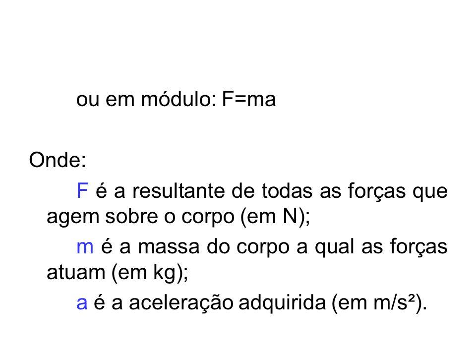 ou em módulo: F=ma Onde: F é a resultante de todas as forças que agem sobre o corpo (em N); m é a massa do corpo a qual as forças atuam (em kg); a é a