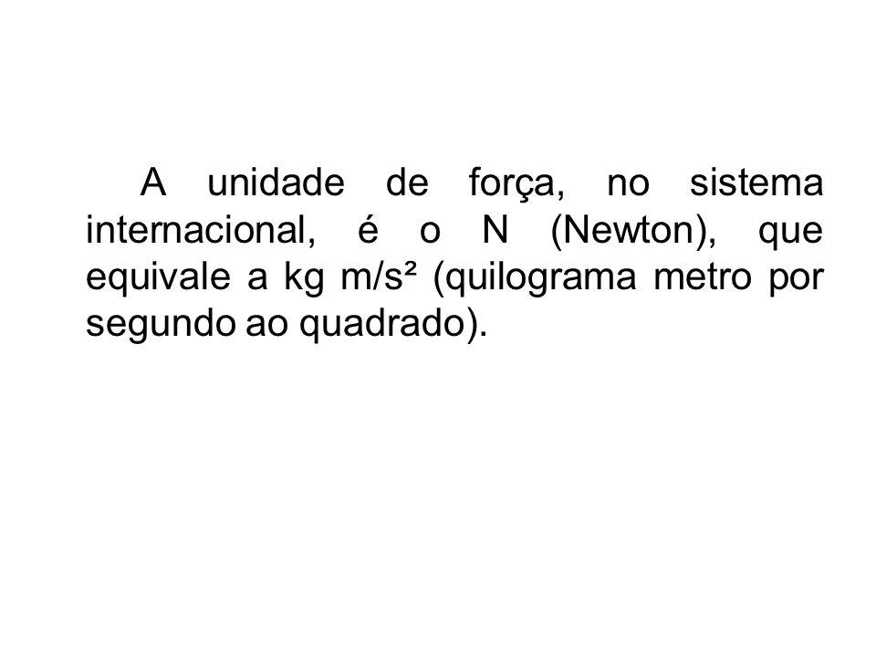 A unidade de força, no sistema internacional, é o N (Newton), que equivale a kg m/s² (quilograma metro por segundo ao quadrado).