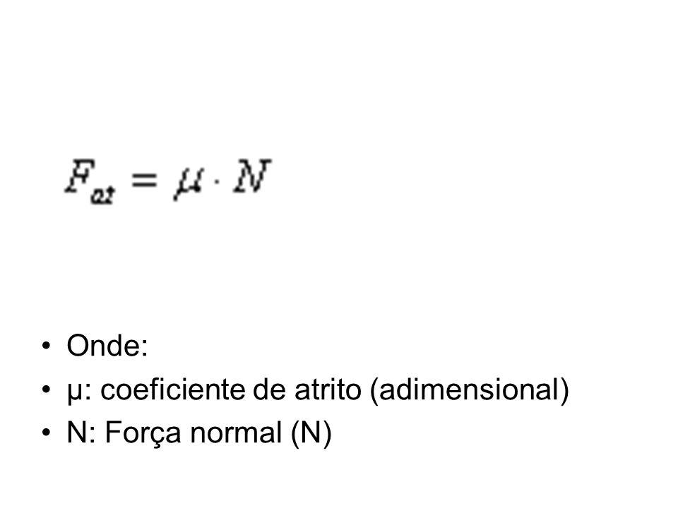 Onde: μ: coeficiente de atrito (adimensional) N: Força normal (N)