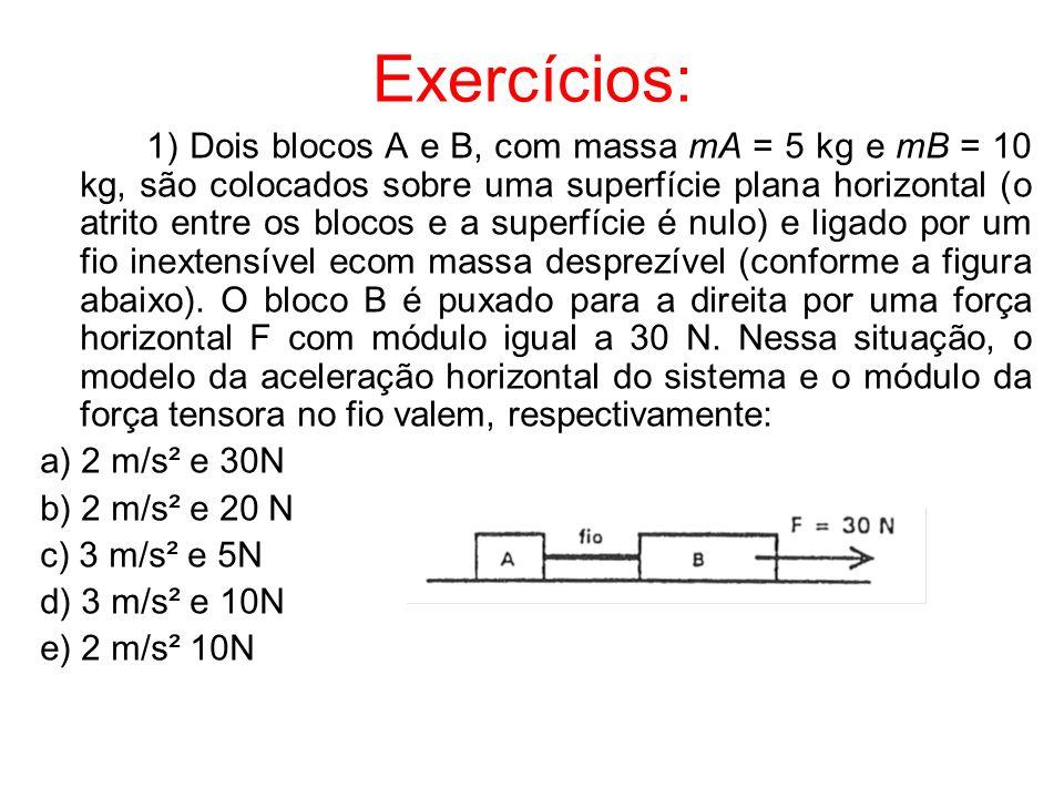 Exercícios: 1) Dois blocos A e B, com massa mA = 5 kg e mB = 10 kg, são colocados sobre uma superfície plana horizontal (o atrito entre os blocos e a