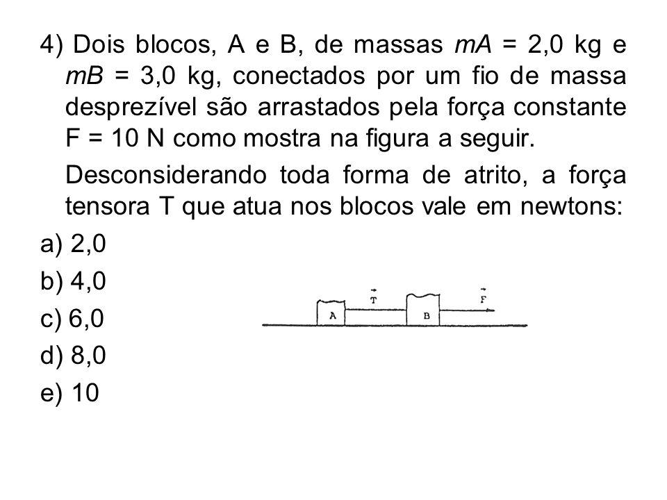 4) Dois blocos, A e B, de massas mA = 2,0 kg e mB = 3,0 kg, conectados por um fio de massa desprezível são arrastados pela força constante F = 10 N co