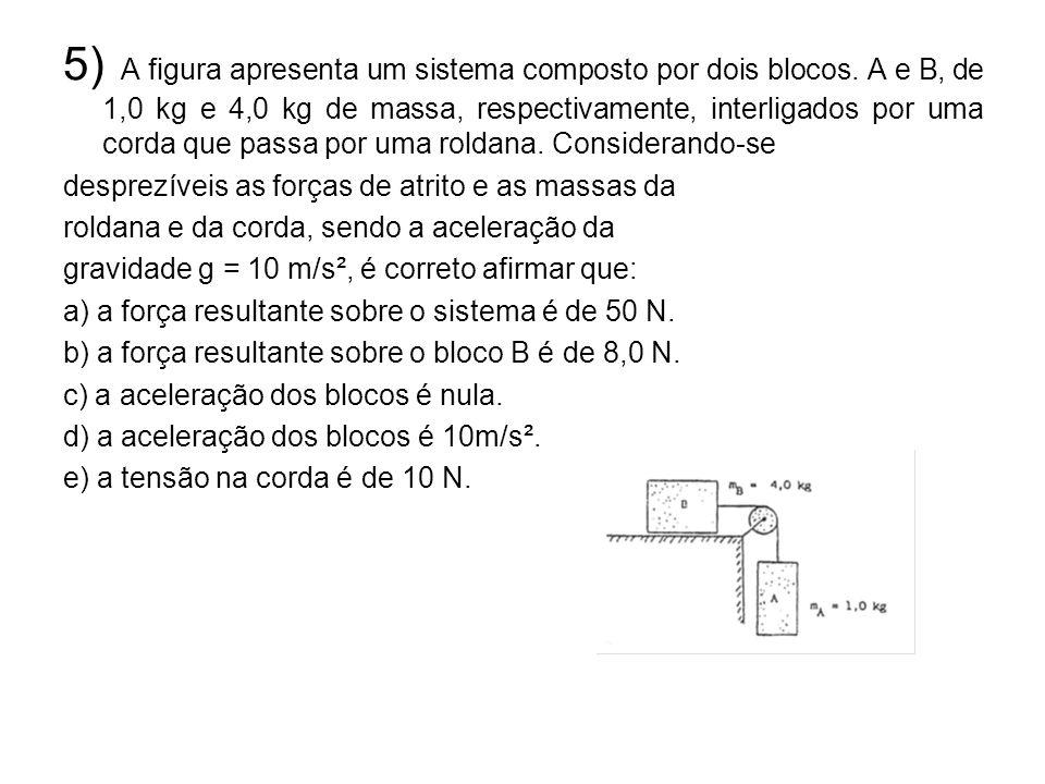 5) A figura apresenta um sistema composto por dois blocos. A e B, de 1,0 kg e 4,0 kg de massa, respectivamente, interligados por uma corda que passa p