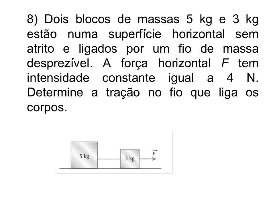 8) Dois blocos de massas 5 kg e 3 kg estão numa superfície horizontal sem atrito e ligados por um fio de massa desprezível. A força horizontal F tem i
