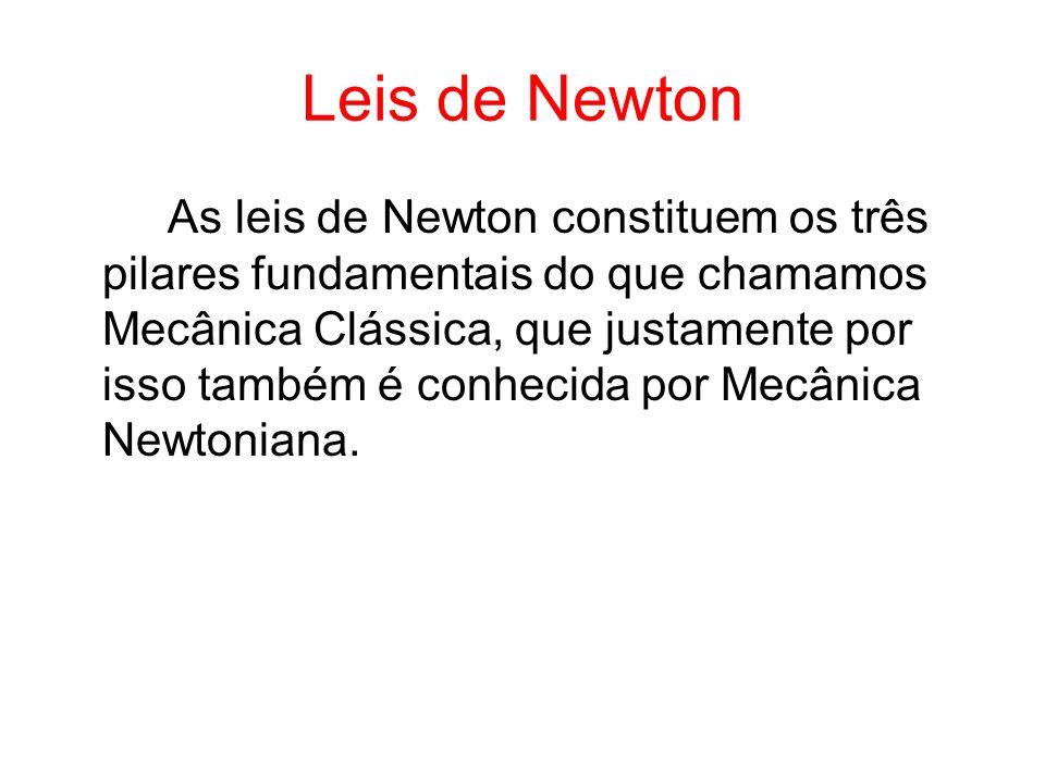 Leis de Newton As leis de Newton constituem os três pilares fundamentais do que chamamos Mecânica Clássica, que justamente por isso também é conhecida
