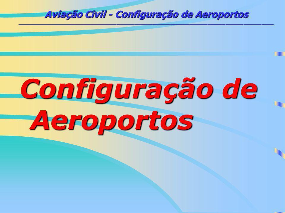 Aviação Civil - Configuração de Aeroportos _____________________________________________________________________________________ CONFIGURAÇÃO DE AEROPORTOS Pistas de Pouso / DecolagemPistas de Pouso / Decolagem –Faixa de Pista Pistas de Taxis (afastamentos)Pistas de Taxis (afastamentos) Configuração de PistasConfiguração de Pistas –Única –Dupla (paralela, V, intercessão) –Decalagem Pátios de espera (Holdind Aprons)Pátios de espera (Holdind Aprons)