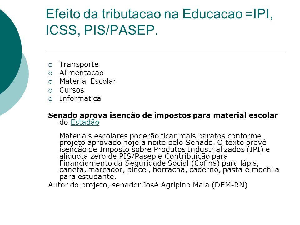 Efeito da tributacao na Educacao =IPI, ICSS, PIS/PASEP. Transporte Alimentacao Material Escolar Cursos Informatica Senado aprova isenção de impostos p