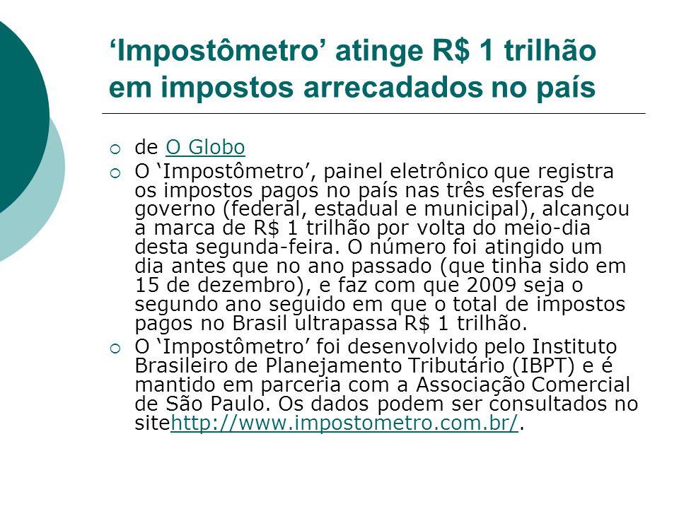 Impostômetro atinge R$ 1 trilhão em impostos arrecadados no país de O GloboO Globo O Impostômetro, painel eletrônico que registra os impostos pagos no