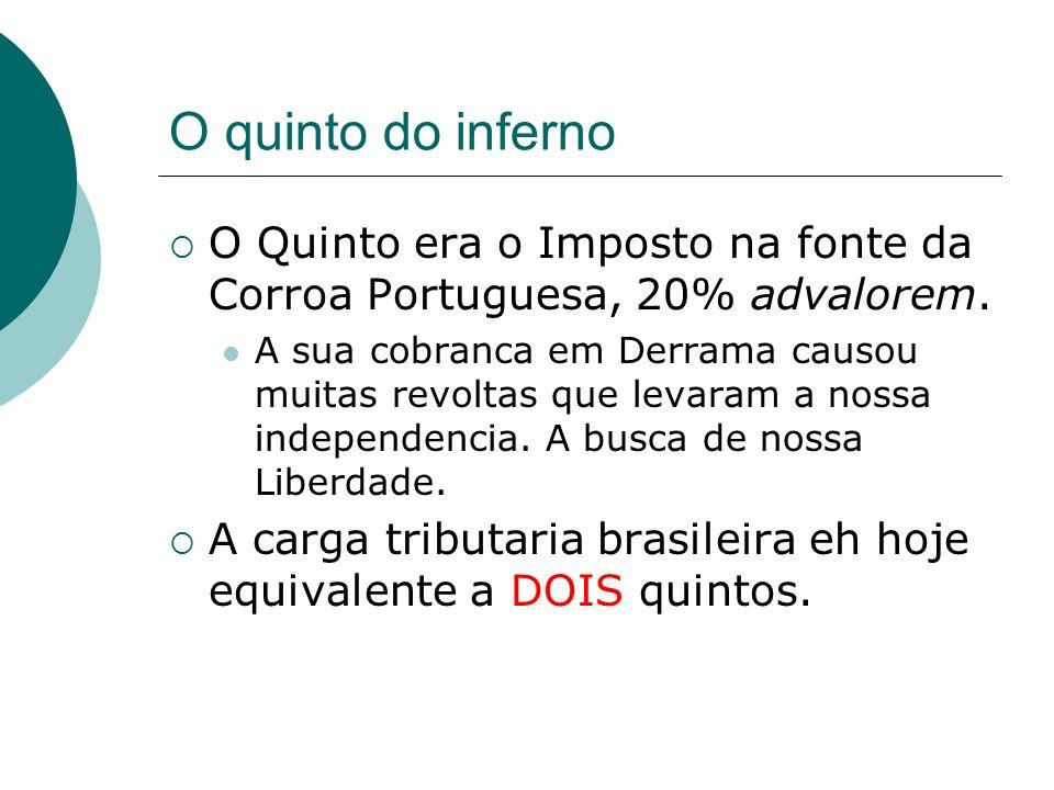 O quinto do inferno O Quinto era o Imposto na fonte da Corroa Portuguesa, 20% advalorem. A sua cobranca em Derrama causou muitas revoltas que levaram