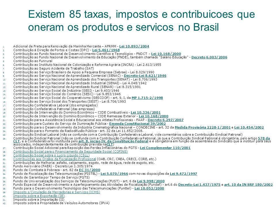 Existem 85 taxas, impostos e contribuicoes que oneram os produtos e servicos no Brasil 1. Adicional de Frete para Renovação da Marinha Mercante – AFRM