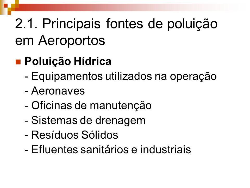 2.1. Principais fontes de poluição em Aeroportos Poluição Hídrica - Equipamentos utilizados na operação - Aeronaves - Oficinas de manutenção - Sistema
