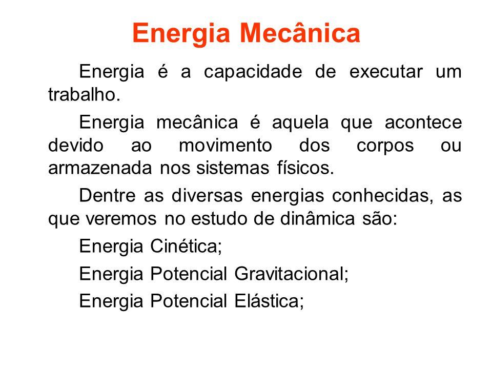 Energia Mecânica Energia é a capacidade de executar um trabalho. Energia mecânica é aquela que acontece devido ao movimento dos corpos ou armazenada n