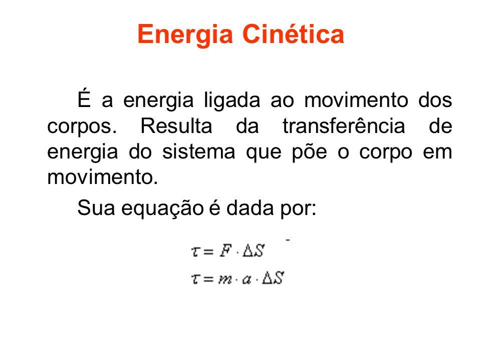 Energia Cinética É a energia ligada ao movimento dos corpos. Resulta da transferência de energia do sistema que põe o corpo em movimento. Sua equação