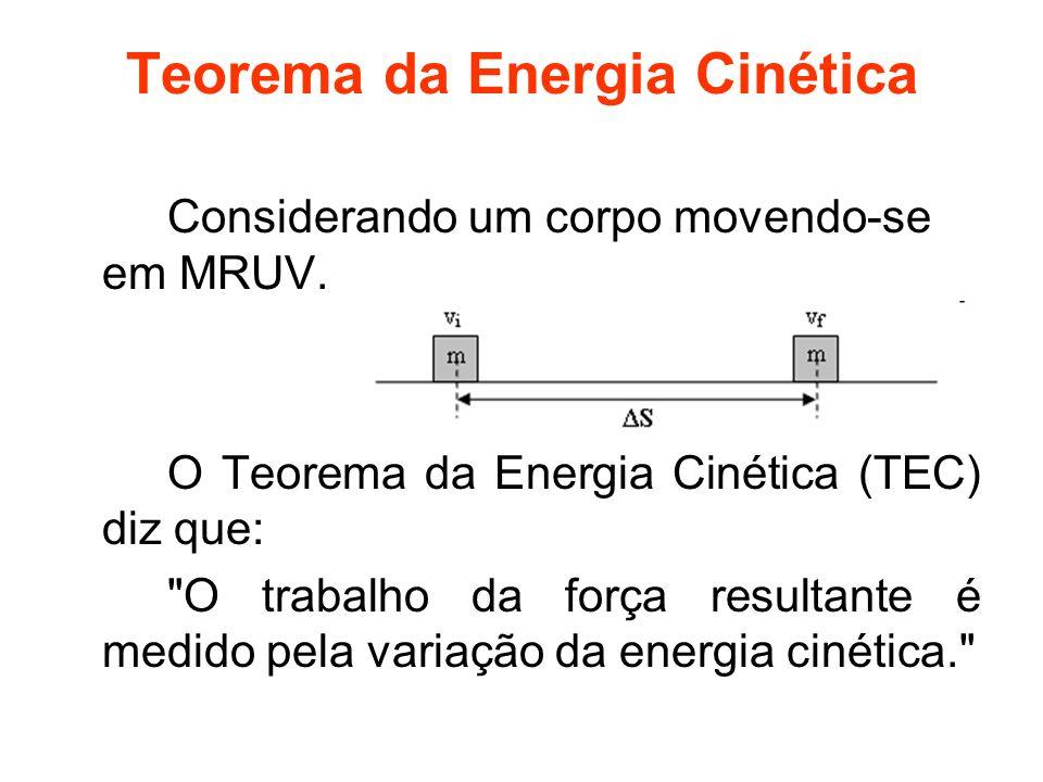 Teorema da Energia Cinética Considerando um corpo movendo-se em MRUV. O Teorema da Energia Cinética (TEC) diz que: