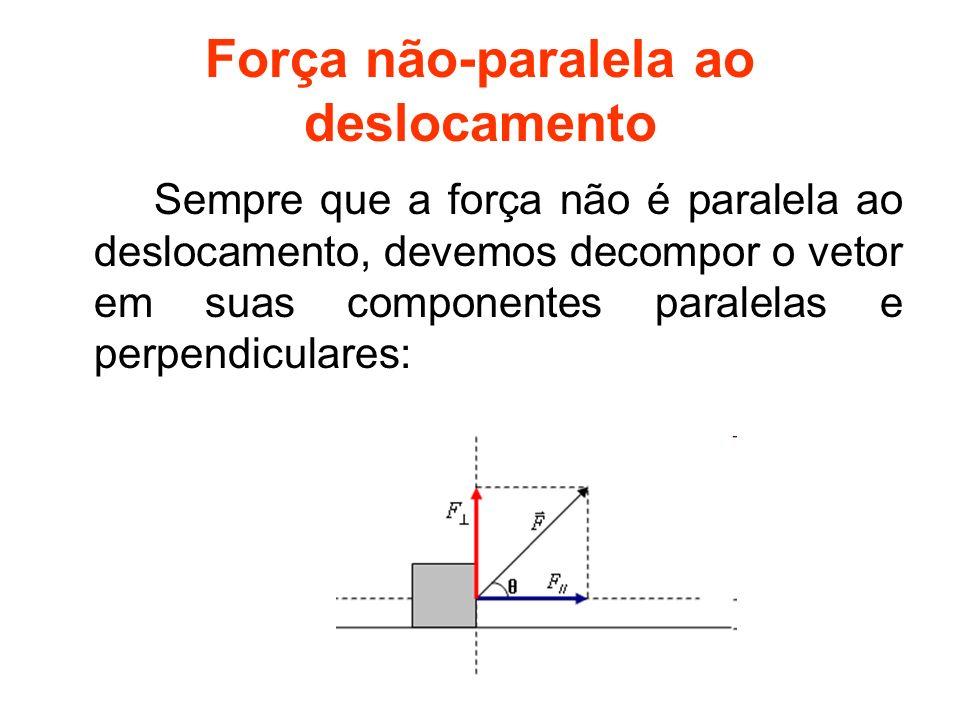 Força não-paralela ao deslocamento Sempre que a força não é paralela ao deslocamento, devemos decompor o vetor em suas componentes paralelas e perpend