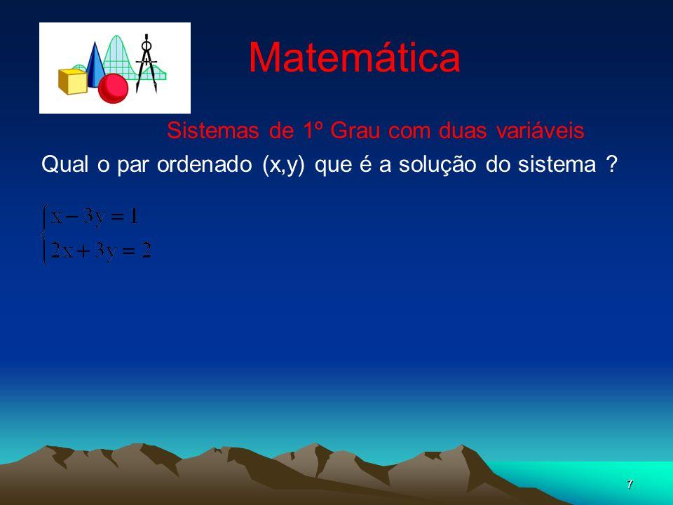 7 Matemática Sistemas de 1º Grau com duas variáveis Qual o par ordenado (x,y) que é a solução do sistema ?