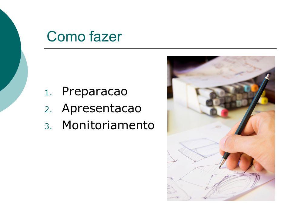 Como fazer 1. Preparacao 2. Apresentacao 3. Monitoriamento
