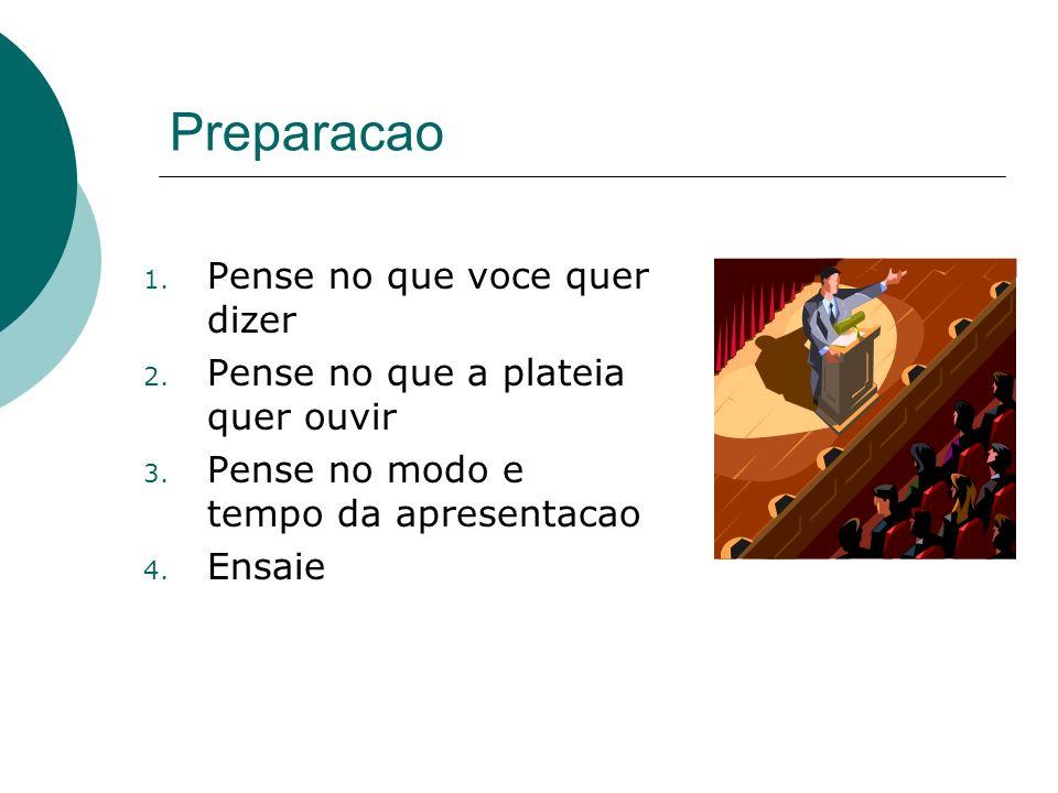 Preparacao 1. Pense no que voce quer dizer 2. Pense no que a plateia quer ouvir 3. Pense no modo e tempo da apresentacao 4. Ensaie