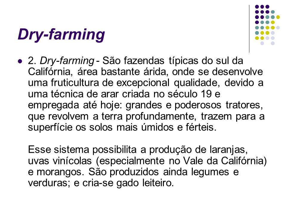 Dry-farming 2. Dry-farming - São fazendas típicas do sul da Califórnia, área bastante árida, onde se desenvolve uma fruticultura de excepcional qualid