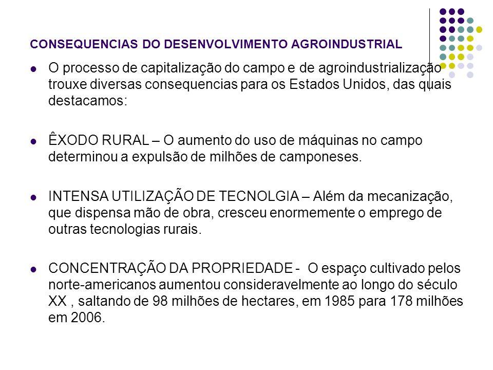 CONSEQUENCIAS DO DESENVOLVIMENTO AGROINDUSTRIAL O processo de capitalização do campo e de agroindustrialização trouxe diversas consequencias para os E