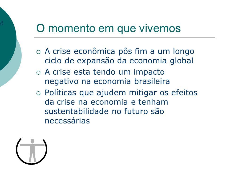 O momento em que vivemos A crise econômica pôs fim a um longo ciclo de expansão da economia global A crise esta tendo um impacto negativo na economia