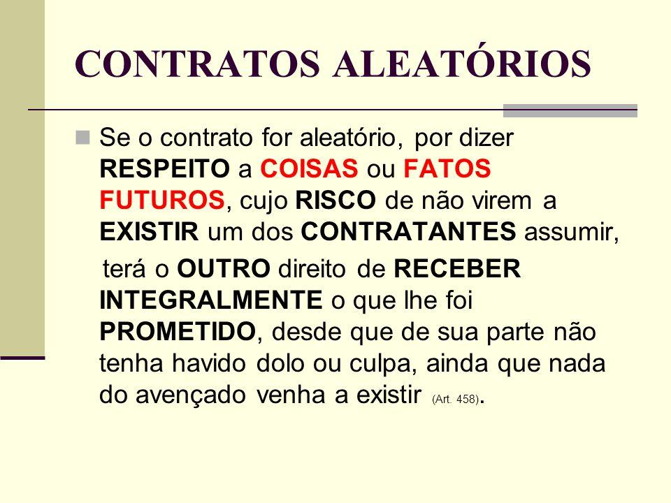 CONTRATOS ALEATÓRIOS Se o contrato for aleatório, por dizer RESPEITO a COISAS ou FATOS FUTUROS, cujo RISCO de não virem a EXISTIR um dos CONTRATANTES