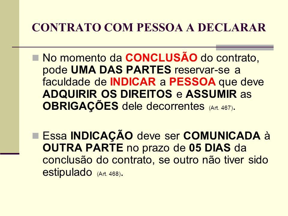 CONTRATO COM PESSOA A DECLARAR No momento da CONCLUSÃO do contrato, pode UMA DAS PARTES reservar-se a faculdade de INDICAR a PESSOA que deve ADQUIRIR
