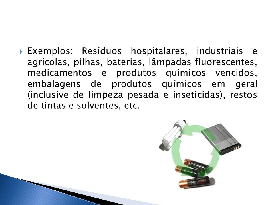 Exemplos: Resíduos hospitalares, industriais e agrícolas, pilhas, baterias, lâmpadas fluorescentes, medicamentos e produtos químicos vencidos, embalag