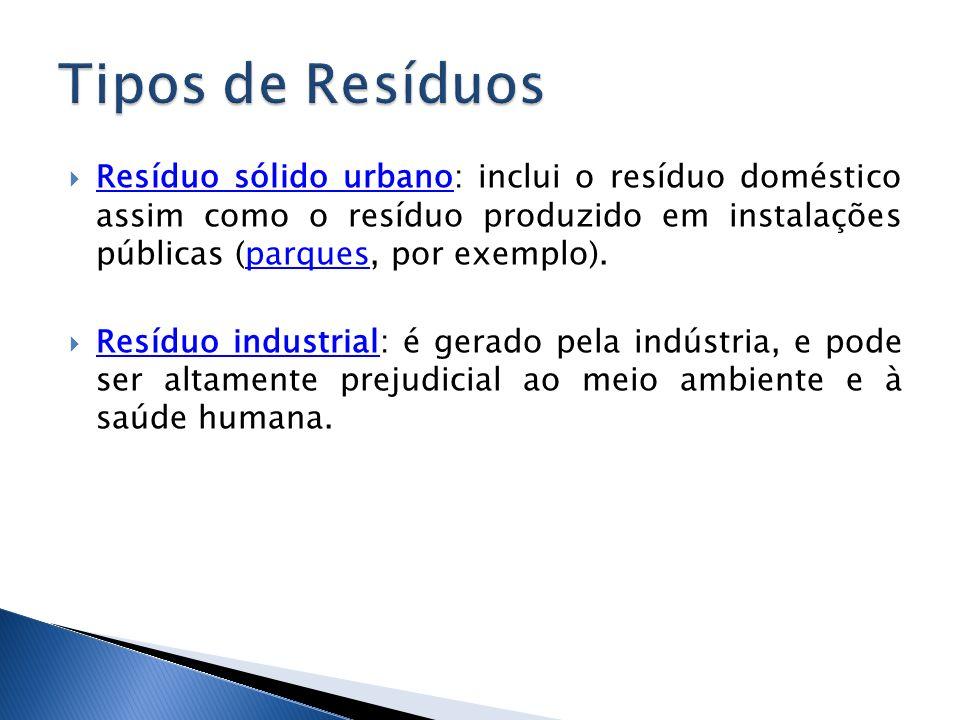 Resíduo sólido urbano: inclui o resíduo doméstico assim como o resíduo produzido em instalações públicas (parques, por exemplo). Resíduo sólido urbano