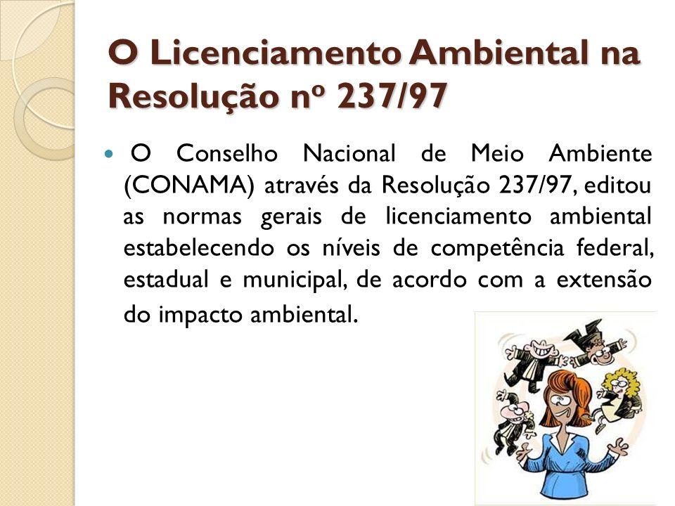 O Licenciamento Ambiental na Resolução n o 237/97 O Licenciamento Ambiental na Resolução n o 237/97 Art.