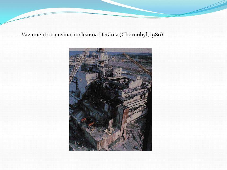 - Vazamento na usina nuclear na Ucrânia (Chernobyl, 1986);