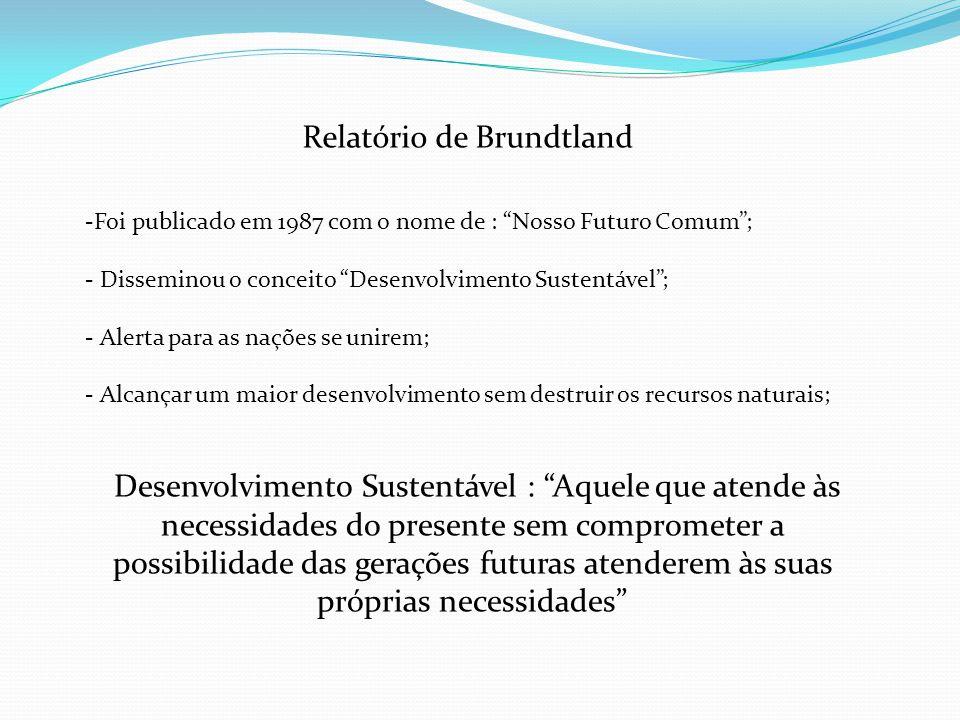 Relatório de Brundtland -Foi publicado em 1987 com o nome de : Nosso Futuro Comum; - Disseminou o conceito Desenvolvimento Sustentável; - Alerta para
