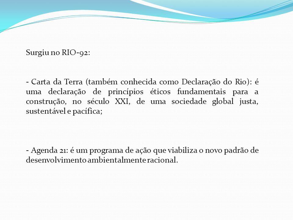 Surgiu no RIO-92: - Carta da Terra (também conhecida como Declaração do Rio): é uma declaração de princípios éticos fundamentais para a construção, no
