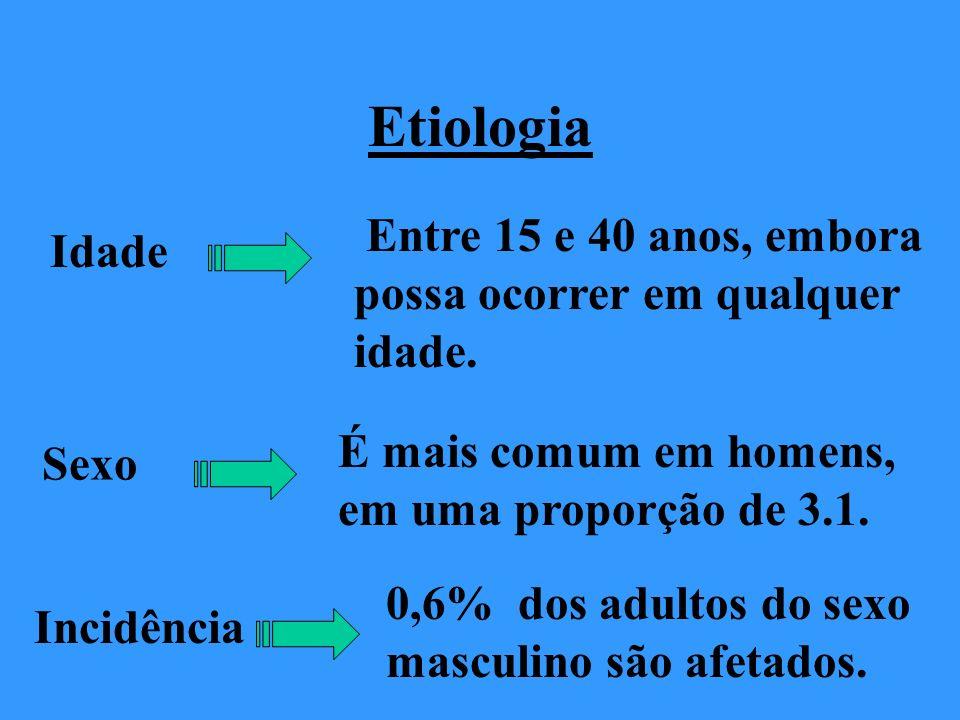 Etiologia Idade Entre 15 e 40 anos, embora possa ocorrer em qualquer idade. Sexo É mais comum em homens, em uma proporção de 3.1. Incidência 0,6% dos