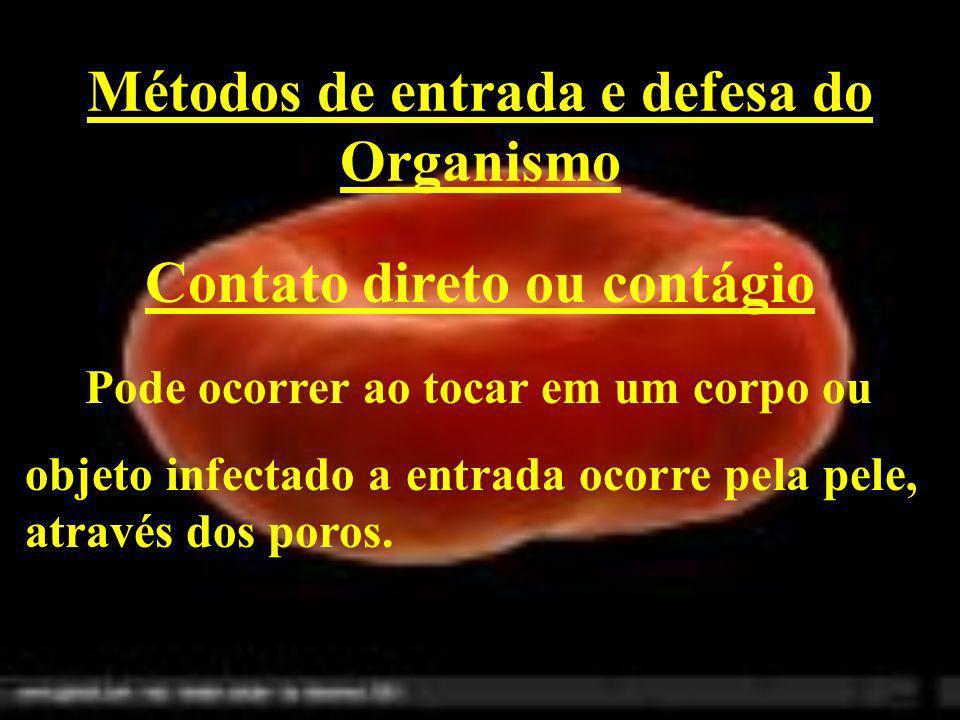Métodos de entrada e defesa do Organismo Contato direto ou contágio Pode ocorrer ao tocar em um corpo ou objeto infectado a entrada ocorre pela pele,