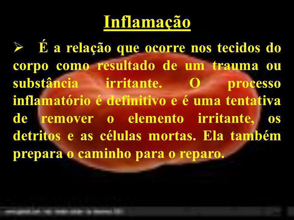 Inflamação É a relação que ocorre nos tecidos do corpo como resultado de um trauma ou substância irritante. O processo inflamatório é definitivo e é u