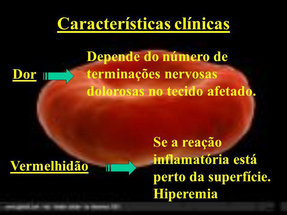 Características clínicas Dor Depende do número de terminações nervosas dolorosas no tecido afetado. Vermelhidão Se a reação inflamatória está perto da
