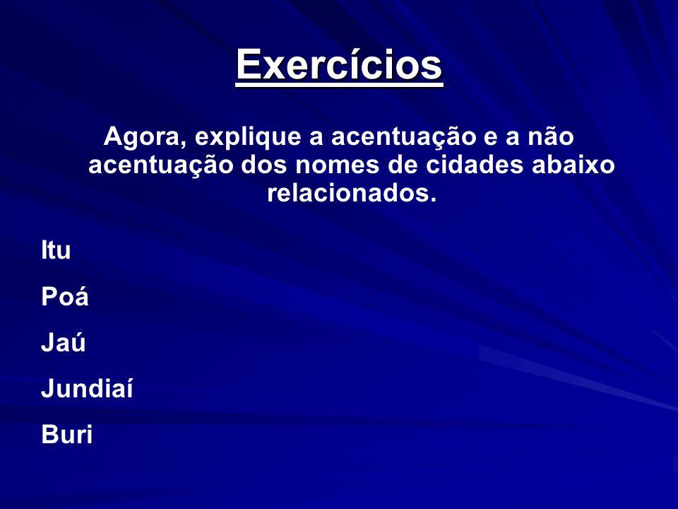 Exercícios Agora, explique a acentuação e a não acentuação dos nomes de cidades abaixo relacionados. Itu Poá Jaú Jundiaí Buri