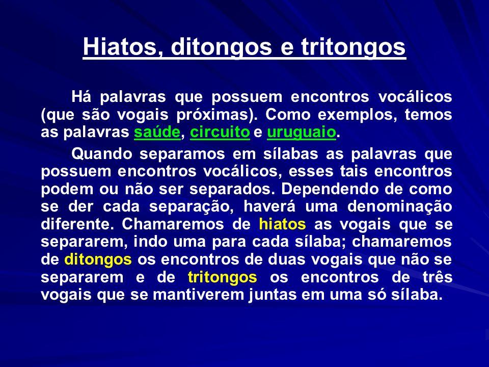 Hiatos, ditongos e tritongos Há palavras que possuem encontros vocálicos (que são vogais próximas). Como exemplos, temos as palavras saúde, circuito e