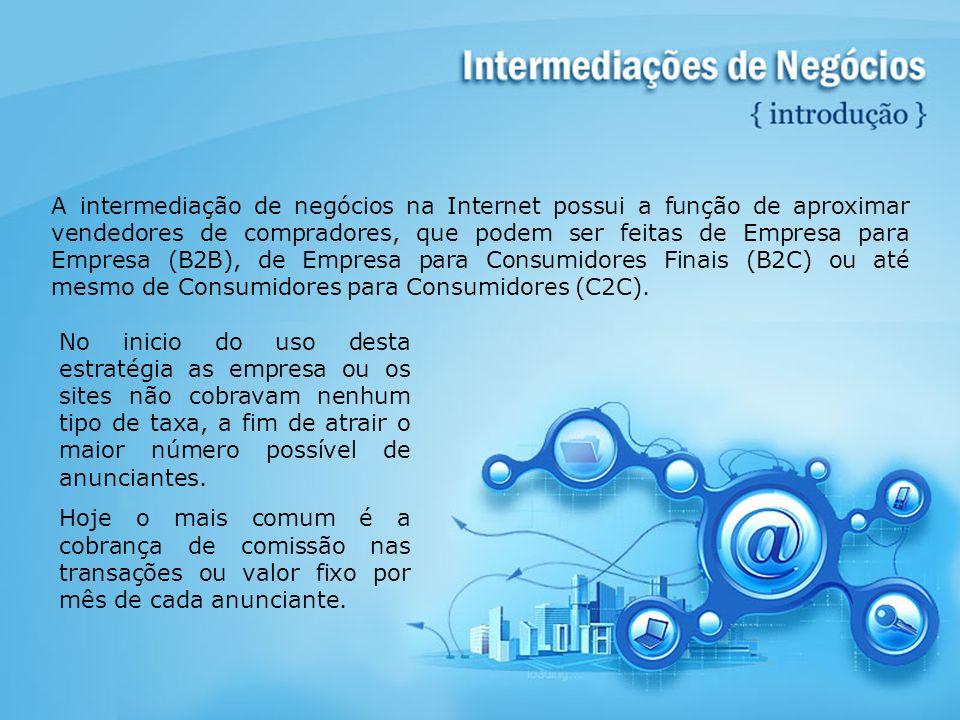 A intermediação de negócios na Internet possui a função de aproximar vendedores de compradores, que podem ser feitas de Empresa para Empresa (B2B), de